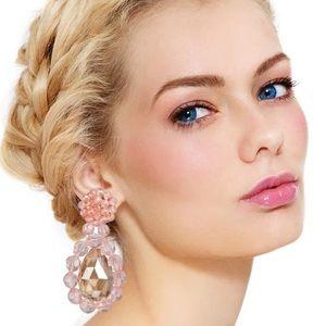 Jewelry - Pink crystal drop earrings